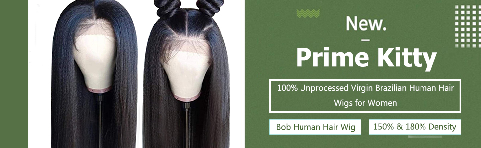 kinkly straight human hair wig