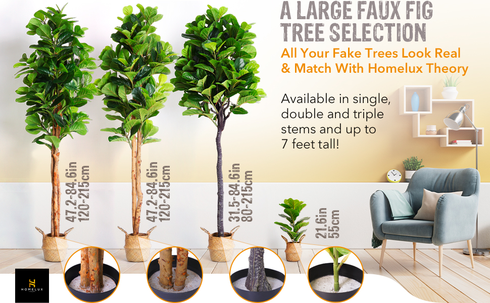 Take this home office plant away, artificial fiddle leaf fig tree fits your rustic or modern decor.