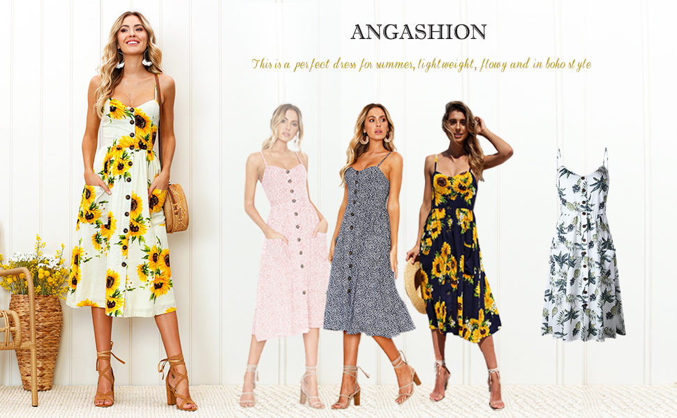 Womens Dresses-Summer Floral Bohemian Spaghetti Strap Button Down Swing Midi Dress with Pockets