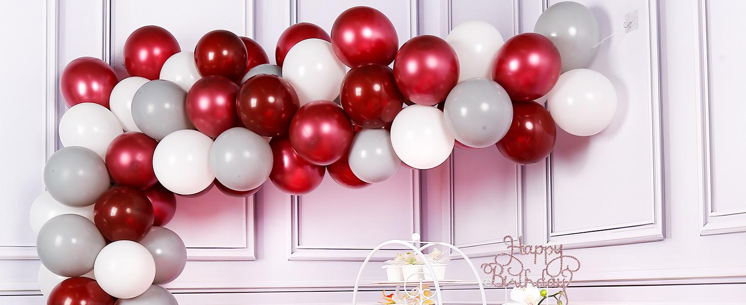 PartyWoo Burgundy Gray White Balloons