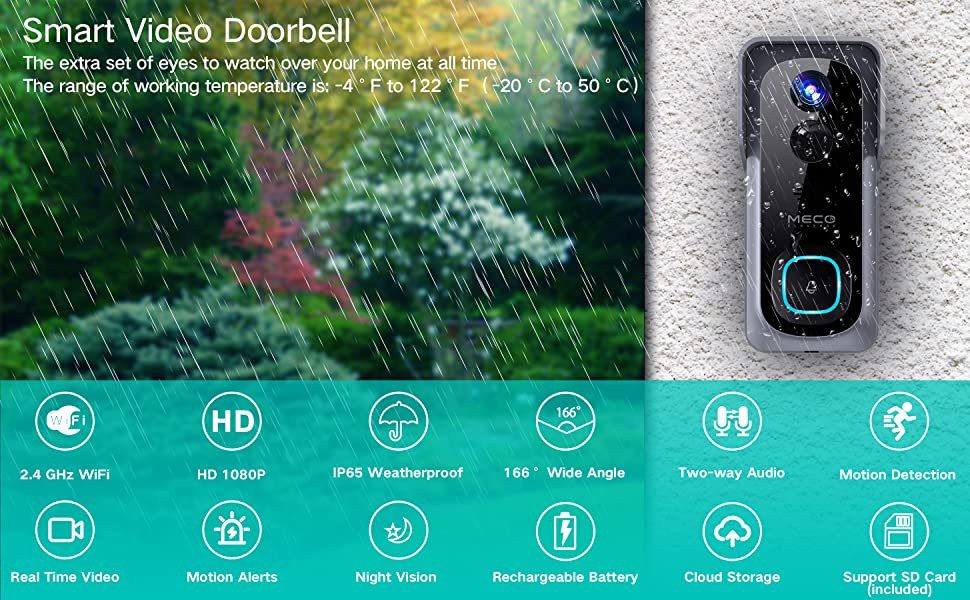 wifi video doorbell camera with ring chime