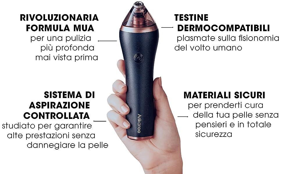 aspiratore punti neri rimozione acne brufoli pelle liscia pulizia viso microdermoabrasione top gamma
