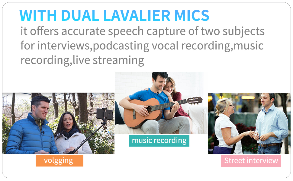 Dual Lavalier Lightning Microphone for iOS iPhone 11 Vlog, 20 ft/6m BOYA BY-M2D Universal Mic