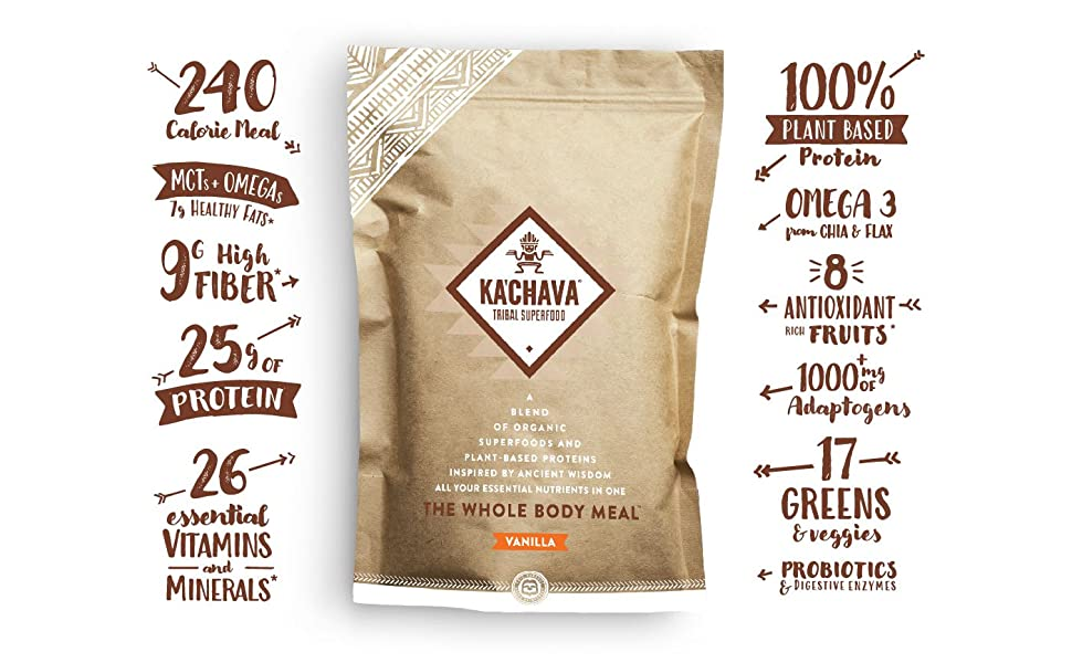 vanilla bag meal replacement high fiber protein vitamins minerals plant based antioxidants omega 3