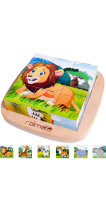 Wooden Block Puzzle Educational Preschool Jigsaw Cube Puzzle Toys for Toddlers