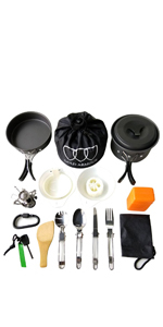 Camping Cookware Mess Kit Backpacking Gear & Hiking Outdoors Bug Out Bag Cooking Equipment Cookset