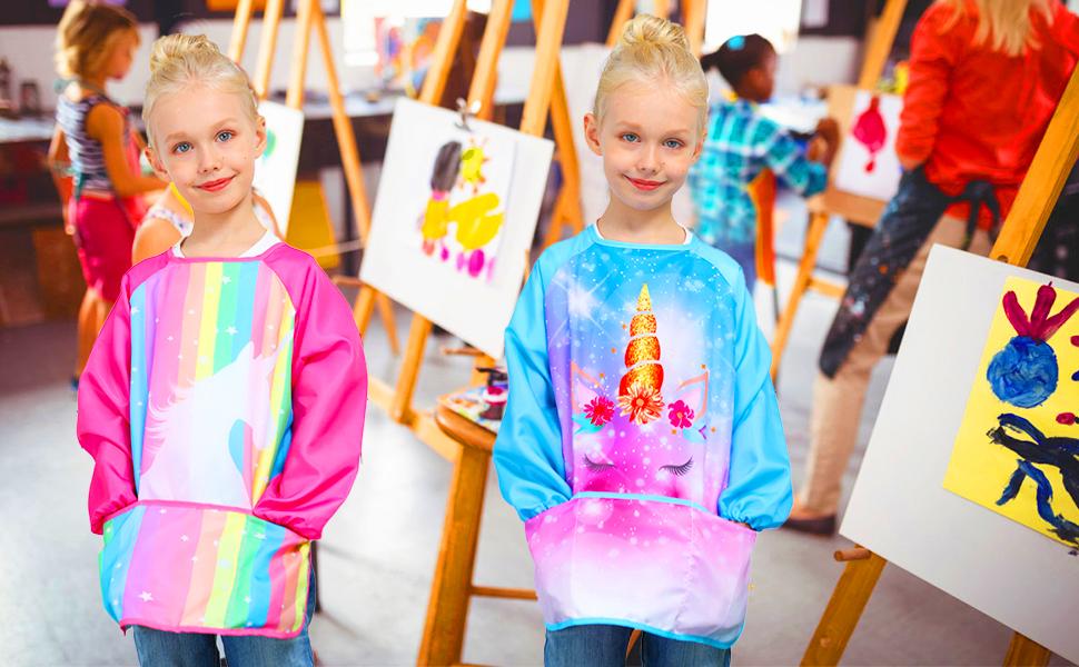 rianbow unicorn kids art apron smock
