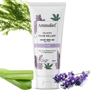 Natural Hemp Pain Relief Cream Aromalief Algae Chondroitin Glucosamine Lavender MSM