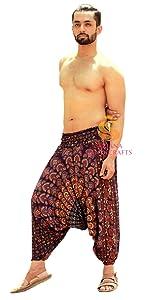 Brown Mandala Rayon Harem Pants