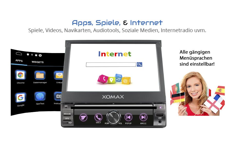 Xomax Extendible Car Radio With Screen 1 Din Elektronik