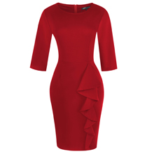 Women's 3/4 sleeve solid cotton work sheath knee-length Dresses