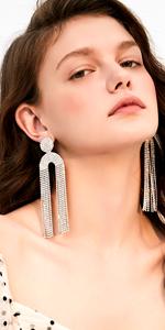 Glitter Round Crystal Tassel Drop Earrings in Silver tone for Women Fringe Dangle Statement Earrings