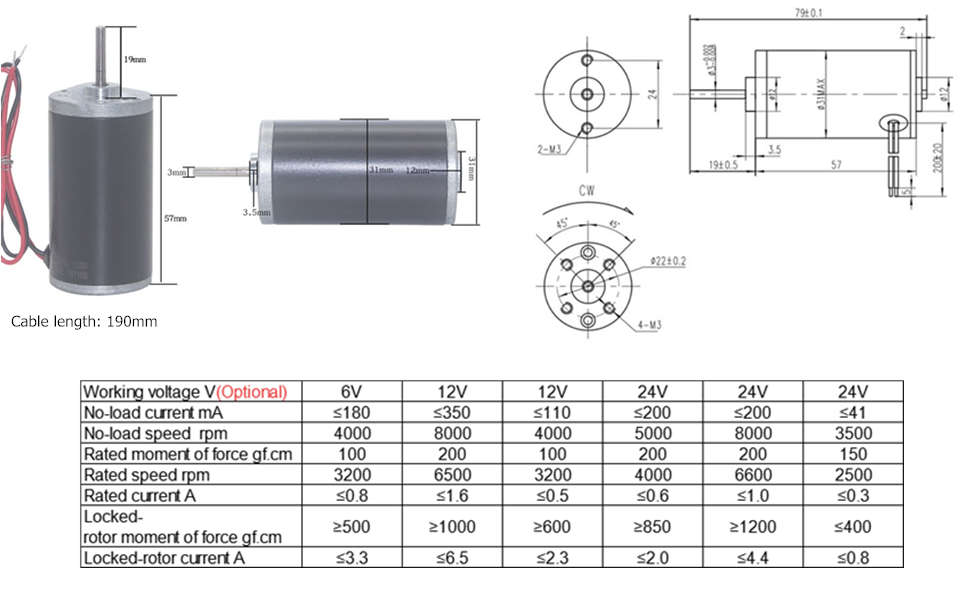 CW CCW Permanent Magnet DC Motor