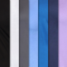 Topstitch Tee shown in different colors: black, white, pewter, ceil, royal, navy and purple haze.