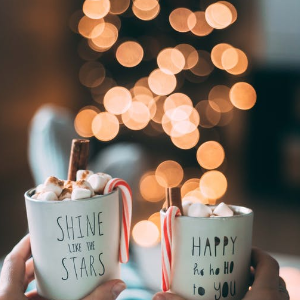 Mugs of Hot Chocolate with Marshmallows and Candy Canes - Set the Tree Up with Ease, Relax and Enjoy