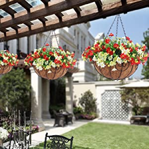 Artificial Hanging Flowers with Basket for The Decoration of Courtyard