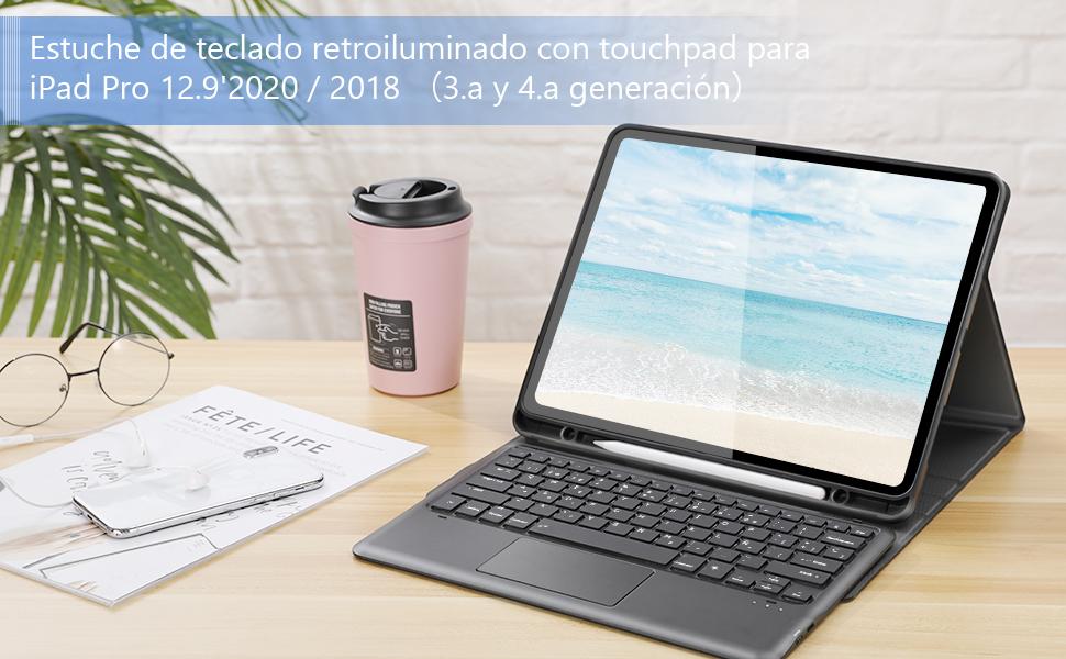 Jelly Comb Funda con teclado Español retroiluminado Touchpad para iPad Pro de 12,9 pulgadas (3.ª y 4.ª generación), Teclado QWERTY desmontable con ...