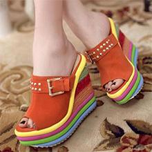 open toe mules for women slip-on heeled sandals