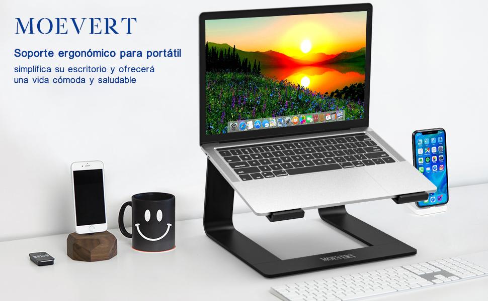 Soporte Portatil, Ergonómico Soporte para Ordenador Portátil Aluminio Soporte para Laptop Portátil