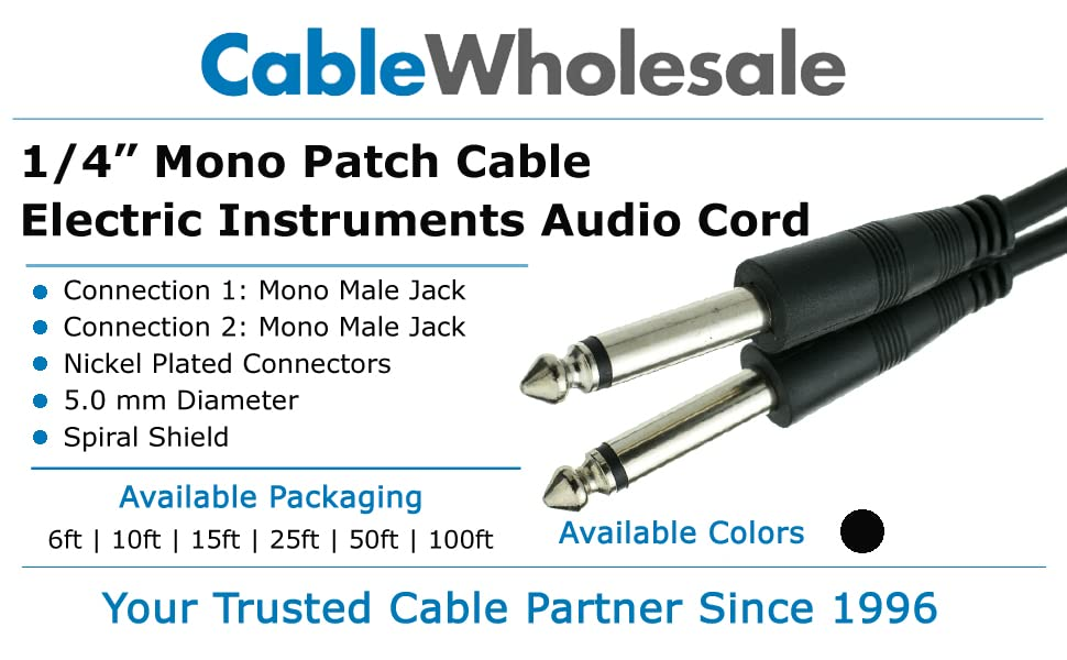 mono cable, male mono cable, male mono jack, male mono adapter, mono cable 1/4, guitar cable