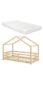 Lit cabane knätten lit d'enfant bois de pin 90x200cm bois naturel matelas mousse à froid