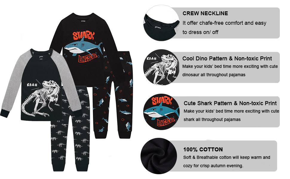 long sleeve dinosaur shark pajamas pjs 4 piece jammies sleepwear