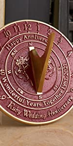 40th ruby wedding anniversary sundial gift