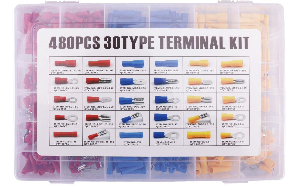 480pcs Connettori Elettrici Terminali Faston Capicorda a Crimpare 480 pezzi 30 tipi di Terminali a Crimpare con Scatola in Plastica