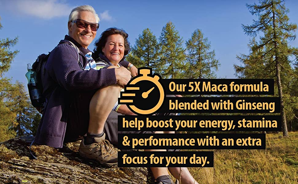 Our 5x Maca formula blended with Ginseng help boost your energy, stamina & performance extra focus