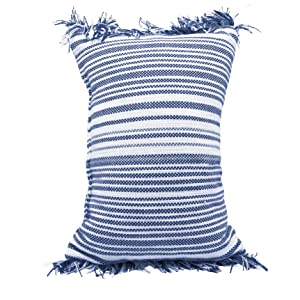 Boho throw pillow striped woven decorative navy blue with fringe filled poly