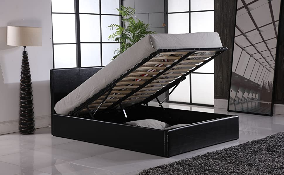 Bilancio Ottoman Gaslift Up Storage Bed in Single, Small Double, Double and King Size, Faux Leather