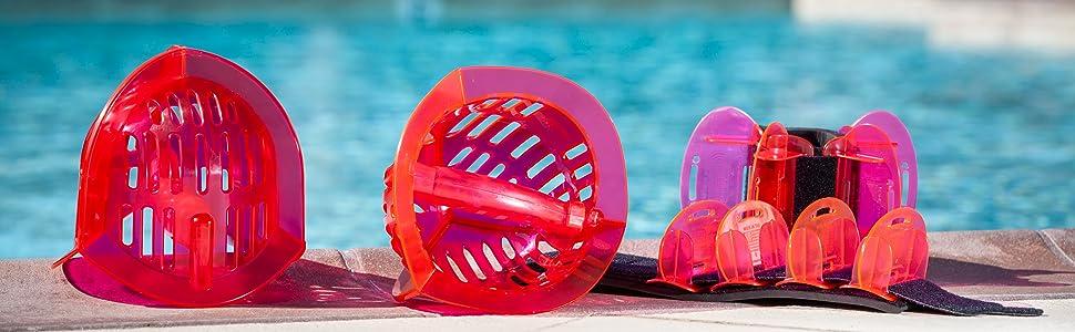 Pink All Purpose Aqualogix Bells and Hybrid Fins - Aquatic Workout Equipment