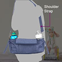 Showing buggy organiser in use with shoulder strap so show how easy it is to carry about off pram
