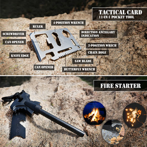 Saber card and fire starter