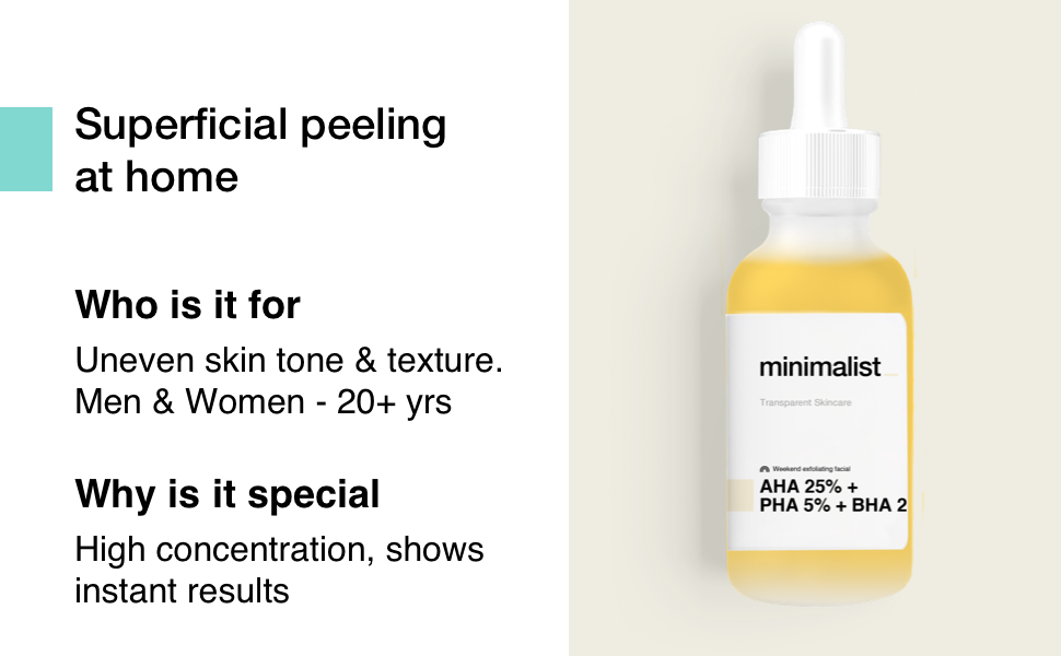 Superficial peeling solution at home with 25% aha 2% bha 5 % pha face acids even skin tone texture