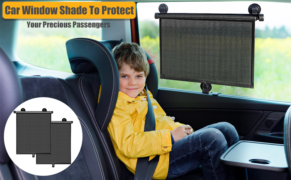 2Pcs Car Window Shade for Car Windows or Home Windows Manelord Sun Shade Room Suitable for Car Retractable Car Sun Shade for Blocking Sun Glare and Heat House and Office Window