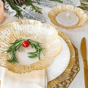 gold plates vietri rufolo glass plate bowl salad votive cascatta reception formal elegant dinneware