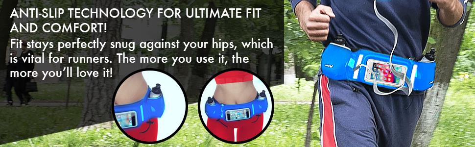 bounce free hydration running walking fitness belt water bottles 10 oz touchscreen