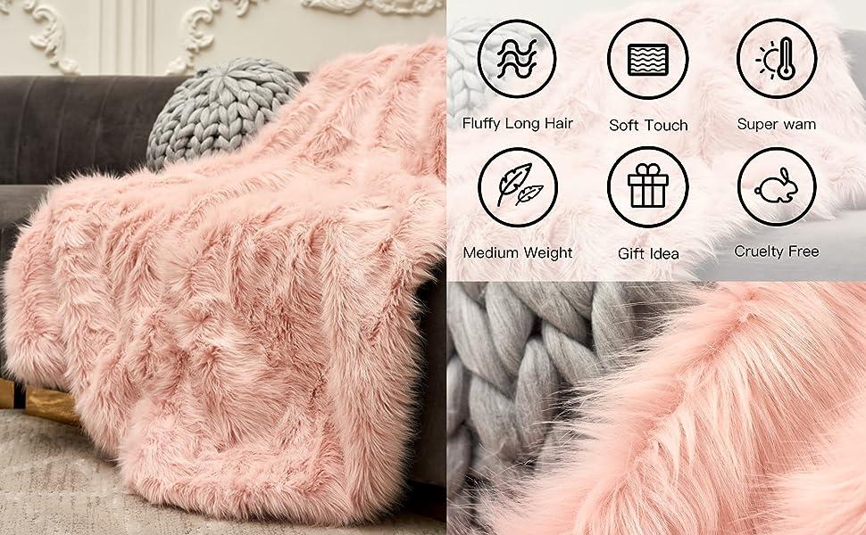 Pink Fuax Fur Blanket