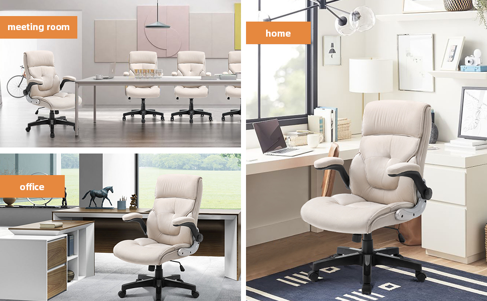 Office Chair with Headrest Pillow, Adjustable Ergonomic with Lumbar Support, Soft Fabric, Beige