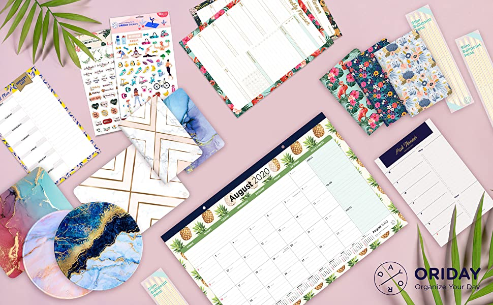 Oriday Monthly Calendar Planner Stickers 6 Sheets Set of 391 Stickers for Daily Life Productivity