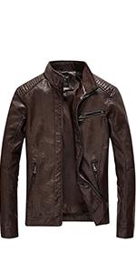 Women's Faux Leather Zip Up Moto Biker Jackets with Pockets