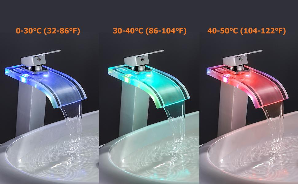 ORB Antique Black JinYuZe Solid Brass LED Waterfall Glass Spout Single Hole Bathroom Vessel Sink Faucet