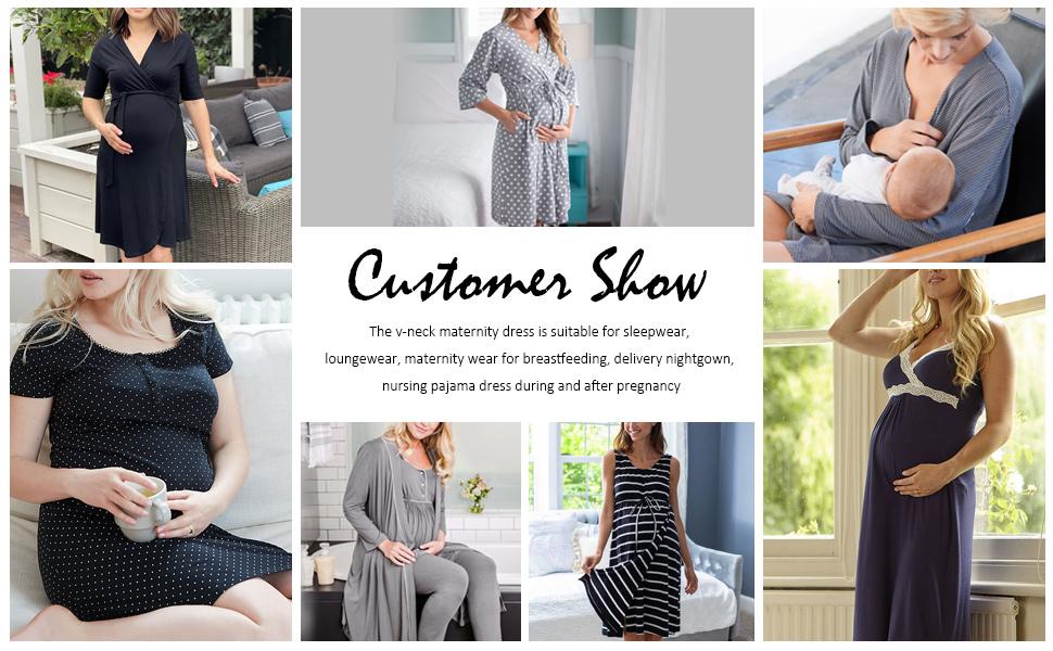 womens spot print lace trim maternity sleep shirt