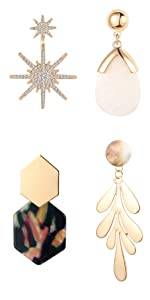 4 Pairs Drop Dangle Earrings