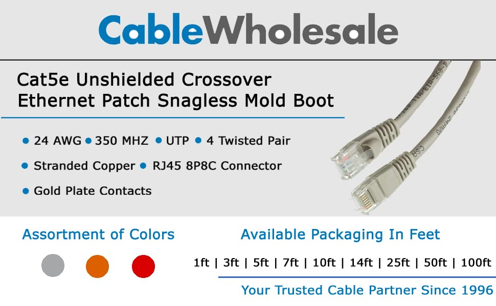 CableWholesale Snagless Mold Boot Unshielded Twisted Pair 4 Pair Stranded Copper 24AWG RJ45 Gold Plate Connector Internet Network Patch Cable White 25 Foot ETL UTP Cat6 Ethernet Cable