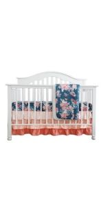 3 pieces of Crib Bedding - Floral on Navy