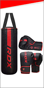 Punch bag with boxing gloves