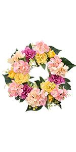 Summer Pink Flower Wreath for Front Door