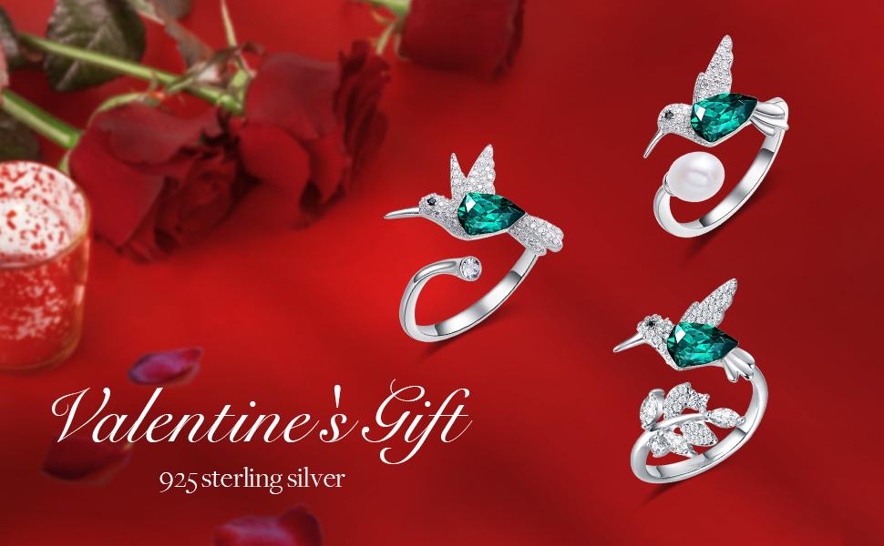 Valentines Day jewelry for women hummingbird bracelet swarovski bangle fine silver jewelry for women